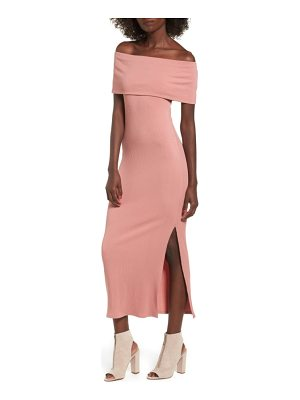 SOPRANO Foldover Off The Shoulder Ribbed Maxi Dress