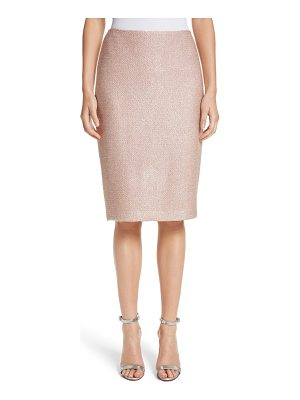 ST. JOHN Frosted Metallic Knit Pencil Skirt