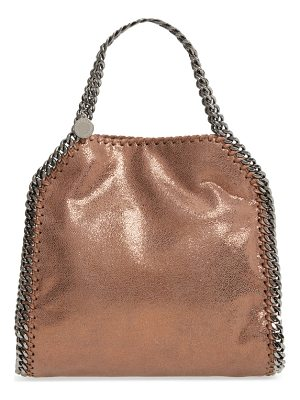 Stella McCartney mini falabella shaggy deer metallic faux leather tote