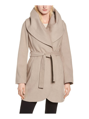 TAHARI T  Wool Blend Belted Wrap Coat