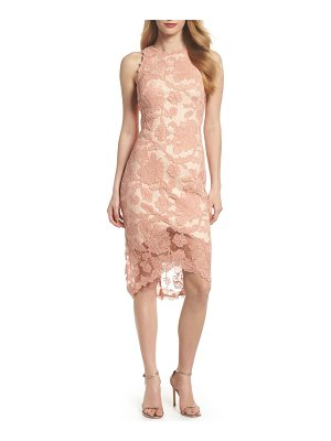 TADASHI SHOJI Embroidered Tulip Hem Sheath Dress