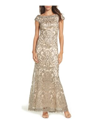 TADASHI SHOJI Off The Shoulder Corded Tulle Gown