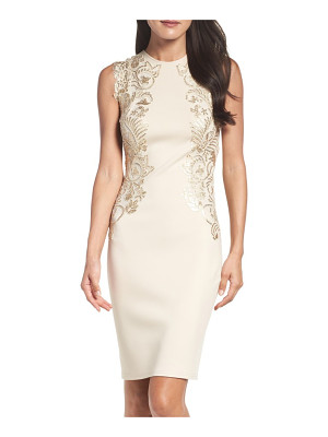 Tadashi Shoji sequin applique neoprene sheath dress