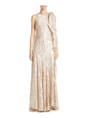 TALBOT RUNHOF Metallic Burnout Jacquard Tie Shoulder Gown