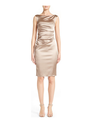 TALBOT RUNHOF Stretch Satin Sheath Dress