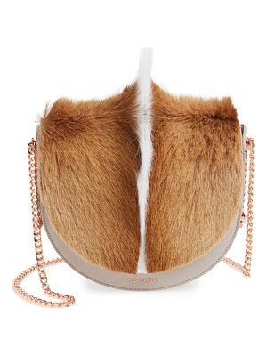 TED BAKER Alisonn Leather & Genuine Springbok Fur Saddle Bag