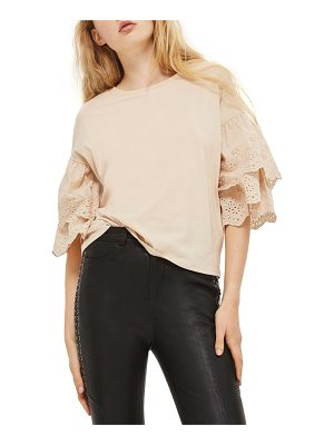 Topshop eyelet layer sleeve tee t-shirt