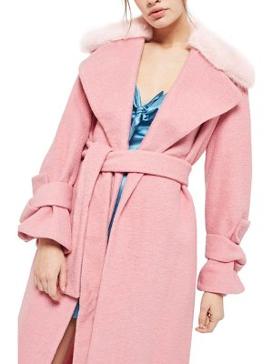 TOPSHOP Faux Fur Collar Belted Wool Blend Coat