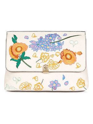 TOPSHOP Floral Embroidered Faux Leather Clutch
