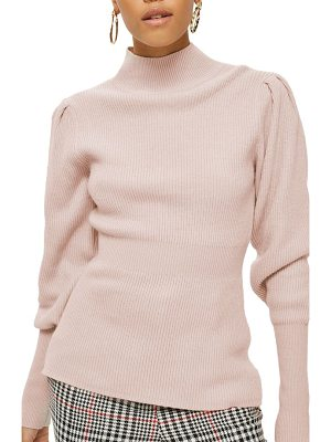 TOPSHOP Puff Sleeve Funnel Neck Sweater