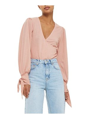 Topshop wrap front tie sleeve top