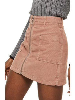 TOPSHOP Zip Through Corduroy Skirt