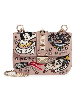 VALENTINO Small Time Is Magic Embroidered Calfskin Leather Shoulder Bag