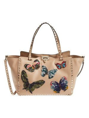 VALENTINO Medium Beaded Butterfly Leather Tote