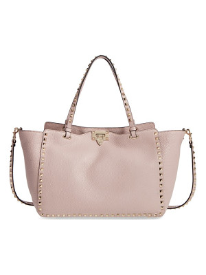 VALENTINO Medium Rockstud Vitello Leather Tote
