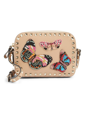 VALENTINO Rockstud Beaded Butterfly Leather Camera Crossbody Bag