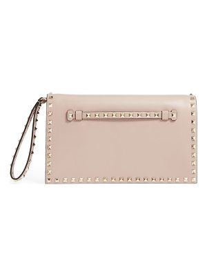 Valentino rockstud calfskin leather clutch