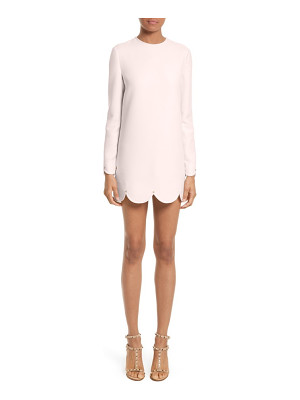 Valentino scallop hem wool & silk shift dress