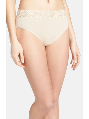 WACOAL 'Cotton Suede' Lace Trim High Cut Briefs