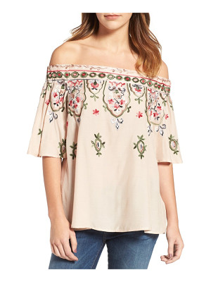 Wit & Wisdom embroidered off the shoulder top