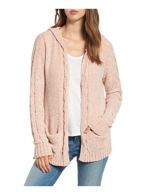WOVEN HEART Chenille Hooded Cardigan