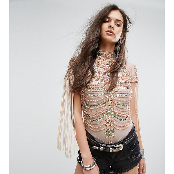 """A STAR IS BORN A Star is Born High Neck Bodysuit in Iridescent Embellishment and Fringe - """"""""Body by A Star Is Born, Smooth stretch fabric, High neck,..."""