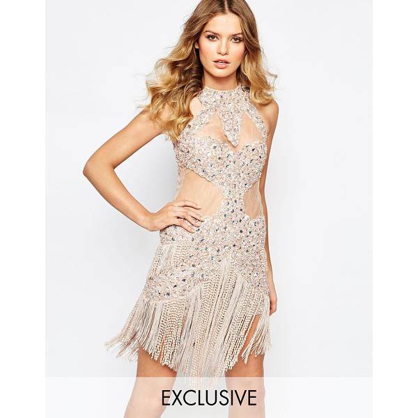 A STAR IS BORN Allover luxe jewel encrusted mini dress with fringe hem - Party dress by A Star Is Born Sequin and bead embellished...