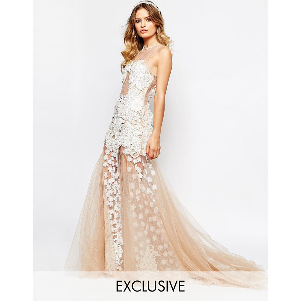 A STAR IS BORN Bridal Luxe Floral Applique Maxi Dress With Full 3D Applique Skirt - Maxi dress by A Star Is Born, Sequin and bead embellished...