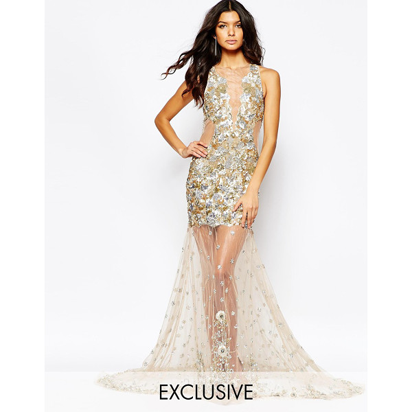 A STAR IS BORN Luxe embellished mesh detail maxi dress with jewelled red carpet hem - Evening dress by A Star Is Born Sequin embellished fabric...