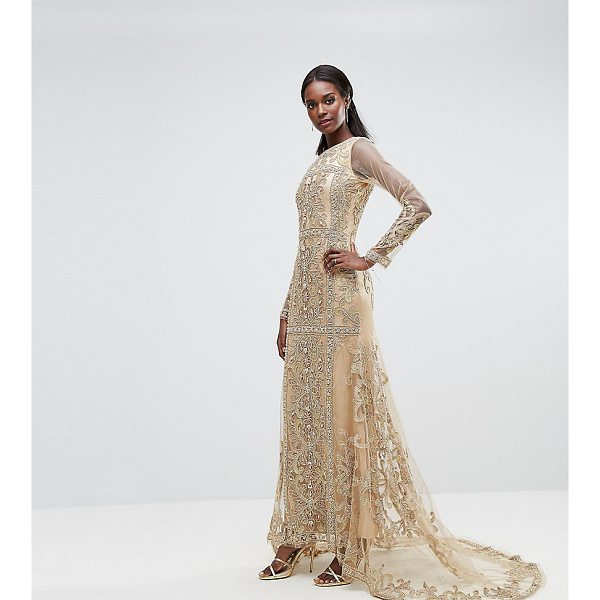 """A STAR IS BORN Maxi Dress With Paneled Embroidered Embellishment - """"""""Maxi dress by A Star Is Born, Embroidered mesh, Lined..."""