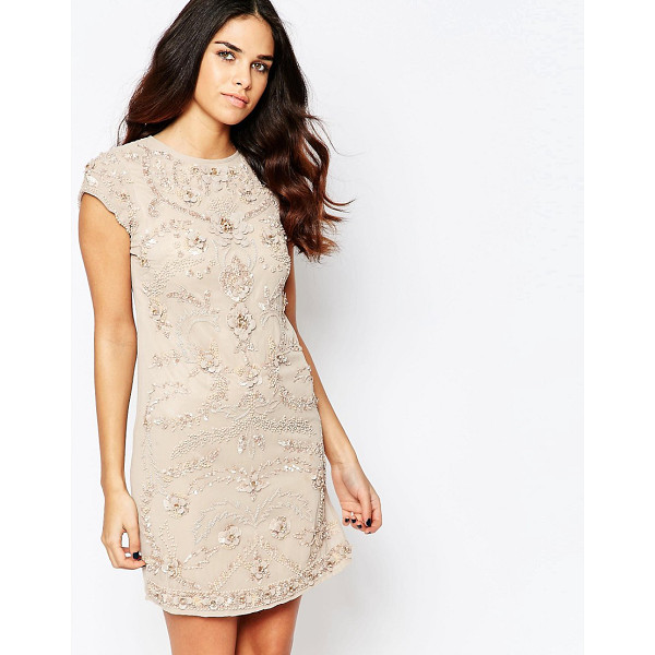 A STAR IS BORN Short sleeve shift dress with embellished detail - Evening dress by A Star Is Born, Lined chiffon, Crew...