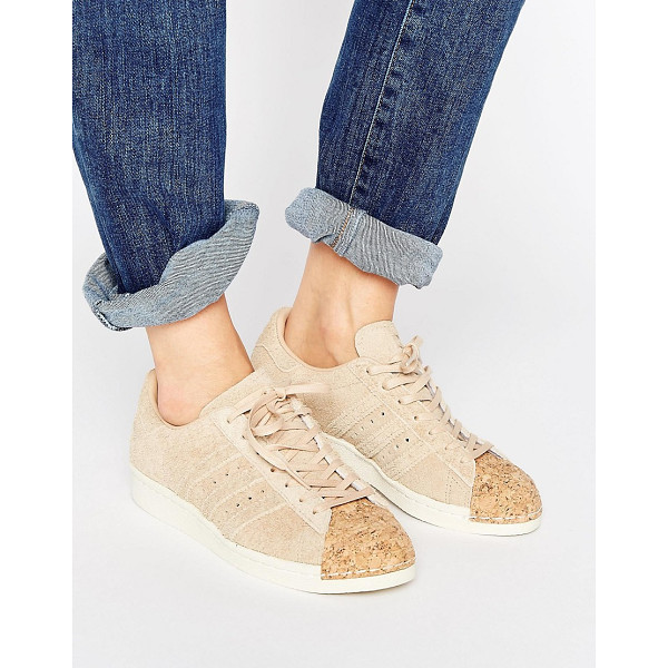 ADIDAS adidas Originals Nude Superstar 80S Sneakers With Cork Toe Cap - Sneakers by Adidas, Suede upper, Lace-up fastening, Cork...