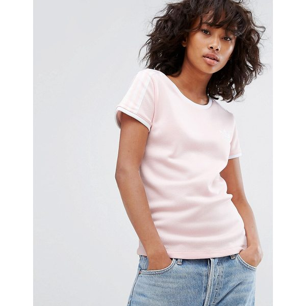 "ADIDAS adidas Originals Sandra 1977 Fitted Tee In Pale Pink - """"T-shirt by Adidas, Textured jersey, Scoop neck, adidas..."