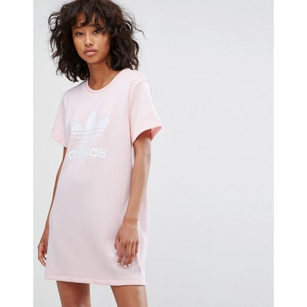 """ADIDAS Trefoil Tee Dress In Pale Pink - """"""""Dress by Adidas, Textured sweat fabric, Round neck, Short..."""