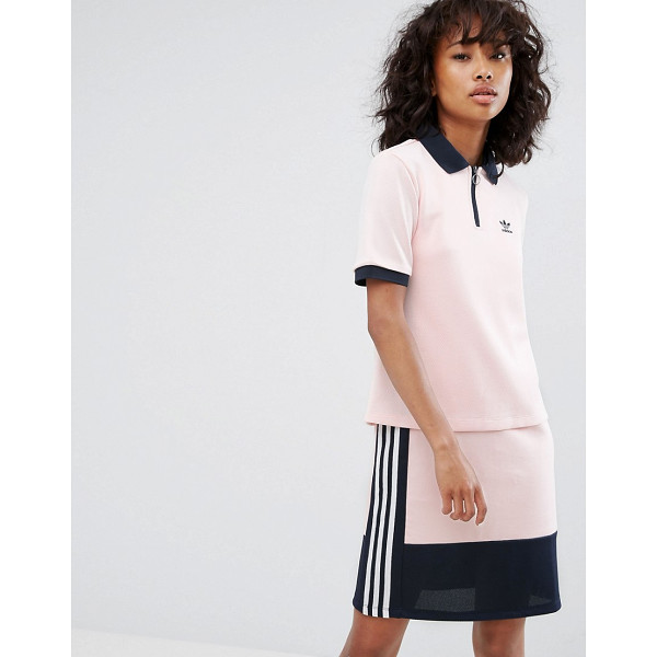 """ADIDAS adidas Osaka Polo Shirt In Pale Pink - """"""""Top by Adidas, Textured woven fabric, Polo collar, Zip..."""