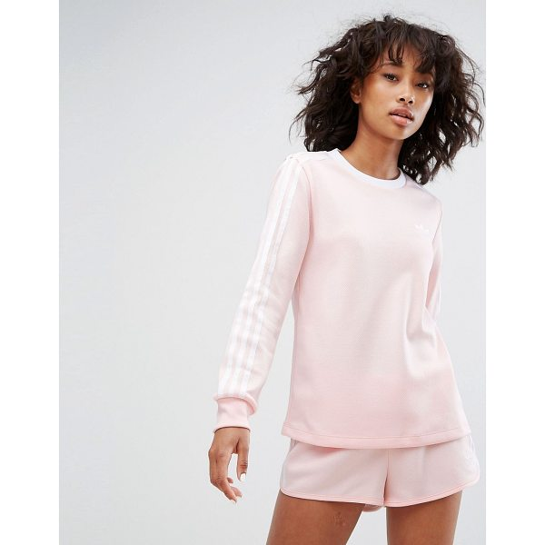 "ADIDAS adidas Three Stripe Long Sleeve Top In Pale Pink - """"Top by Adidas, Textured sweat fabric, Crew neck, Long..."