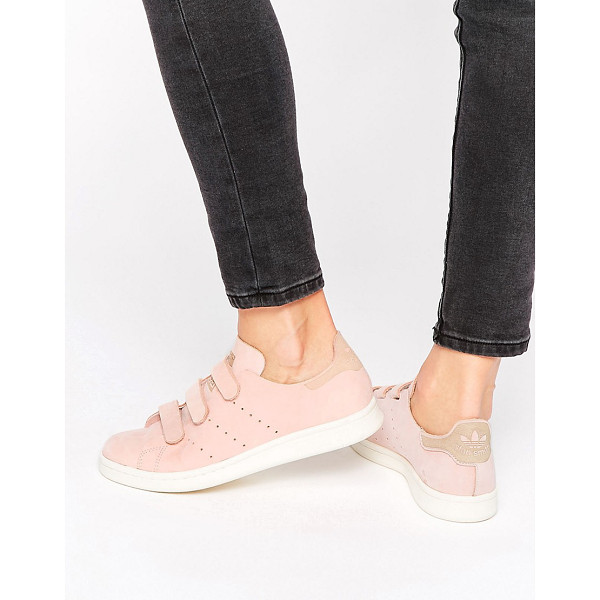 ADIDAS adidas Originals Pink Nubuck Leather Stan Smith Sneakers With Strap - Sneakers by Adidas, Leather upper, Adhesive strap...