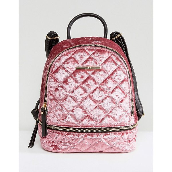 "ALDO Adroiana Velvet Mini Backpack - """"Backpack by ALDO, Soft-touch velvet outer, Quilted..."