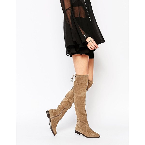 ALDO Barra Taupe Suede Flat Over The Knee Boots - Boots by ALDO, Suede upper, Over-the-knee design, Self-tie...
