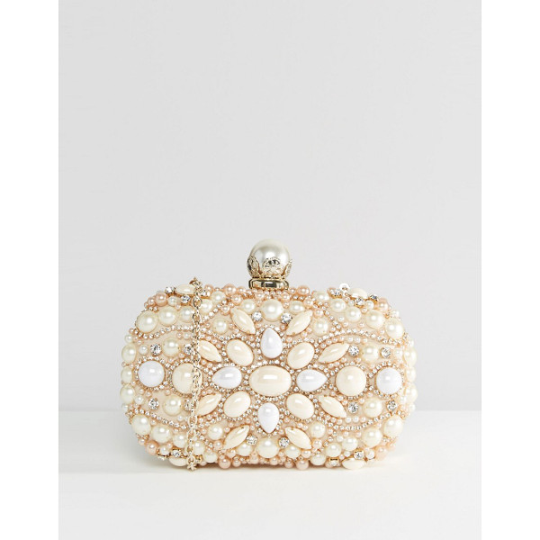 ALDO Beaded Box Clutch With Pearl Clutch Bag - Clutch bag by ALDO, Hard-case outer, Faux-pearl and