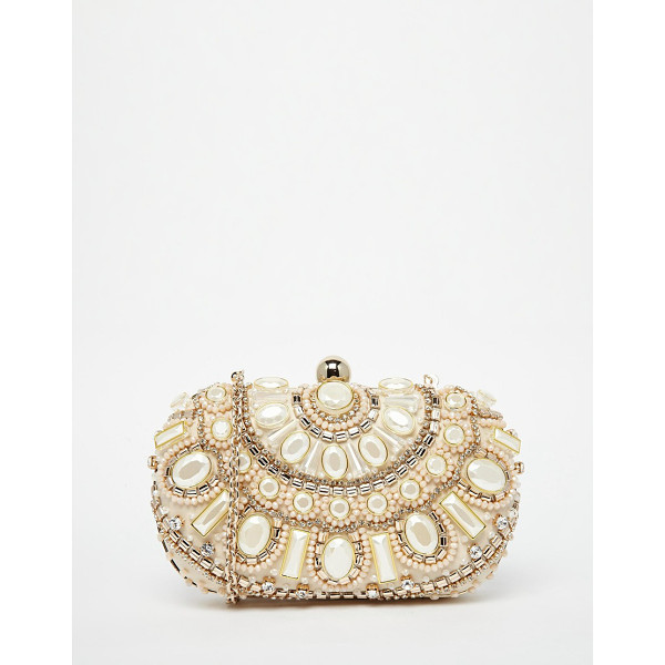 ALDO Box clutch with pearl bead embellishment - Clutch bag by ALDO Structured, pearl-style embellished...