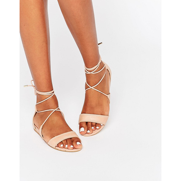 ALDO Brena Nude Ghillie Leather Sandal - Sandals by ALDO, Real leather upper, Open toe, Lace-up...