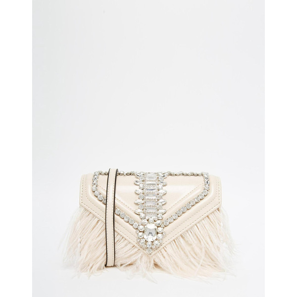 ALDO Clutch bag with stone & feather detailing - Clutch bag by ALDO Leather look Feather detail Gem stone...