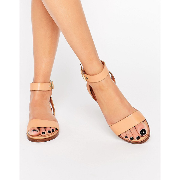 ALDO Erina Nude Simple Strap Flat Sandals - Sandals by ALDO, Real leather upper, Raw-edge detailing,...