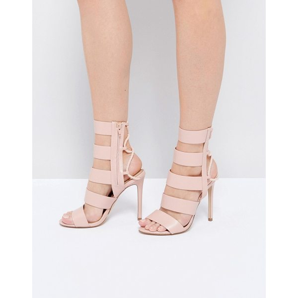 """ALDO Hawaii Pink Lace Back Heeled Strappy Sandals - """"""""Heels by ALDO, Faux-leather upper, Lace-up back..."""