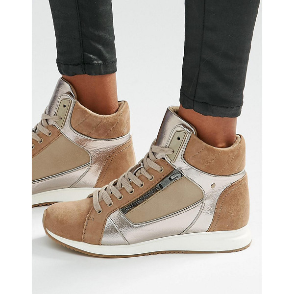 ALDO Metaliic detail high top sneakers - Shoes by ALDO, Faux suede upper, Metallic inserts, Lace-up...