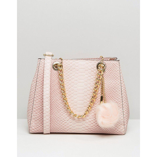 ALDO Minimal Shoulder Bag With Faux Fur Pom - Cart by ALDO, Reptile textured faux-leather outer, Chain...