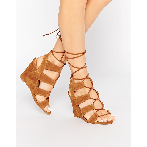 ALDO Rothbaum Cognac Ghillie Wedge Gladiator Sandals - Wedges by ALDO, Real suede upper, Cut-out detailing,...