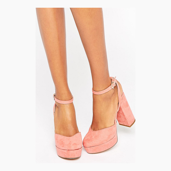 ALDO Shery Ankle Strap Platform Heeled Shoes - Shoes by ALDO, Textile upper, Ankle-strap fastening, Chunky...