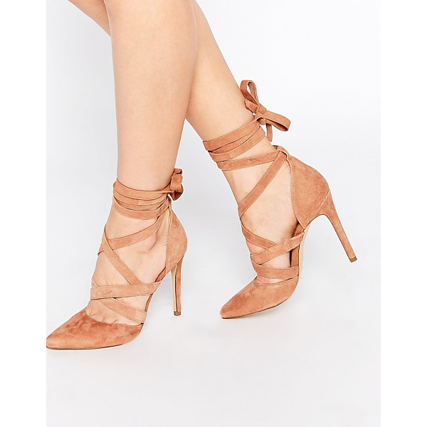 ALDO Unelilian camel suede strap heeled shoes - Shoes by ALDO, Real suede upper, Tie up around ankle strap,...